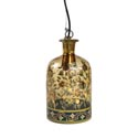 Lamp Pendant Glass 7 X 13.5 Floral Painted Brwn Boxd (55.00) Hardwired