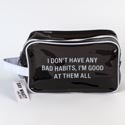 Dopp Bag 6x10x4 Pvc Bad Habits Black (8.50)