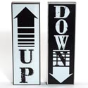 Wall Sign Set Of 2 12x4 Wooden Up & Down Black/white (14.00)