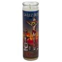 Candle 8in Religious Glass Jar Just Judge/justo Juez Bi-lingual