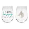 Drinkware 2pc Set 16oz Stemless Wine Glass Happy Thoughts(10.00)