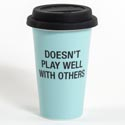 Travel Thermal Mug 10.5 Oz Doesnt Play Well W/others (6.50) Porcelain Mug Silicone Lid