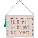 Wall Decor 12x10 Banner Canvas Be Happy W/tassel *14.99*