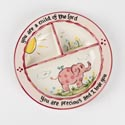 Plate Divided Ceramic 8.5 X 8.5 Child Of The Lord (9.00) Pink Elephant