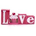 Wall Sign 13x6 Wooden Love Pink (10.95)