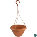 Planter Hanging Round 10.3d X 6.0h Terra Cotta/green No Punched Holes