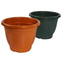 Planter 12-1/4d X 9.5h Round Terra Cotta, Green, #1904 No Punched Out Holes