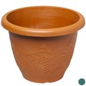 "Planter 9.75"" Round X 7.5""h Grapevine Emboss Green/tc In Pdq #hg0225"