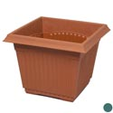 "Planter Square 16""x16""x13"" Green, Terra Cotta #hg8014 No Holes"