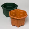 Planter Hexagon Shape W/cedar Shake Design Terra Cotta, Green In Pdq No Punched Out Holes