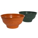 Planter Round 13-3/4 X 6-3/4 W/embossed Design/base 2 Colors Green, Terra Cotta No Holes