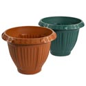 Planter 10 Inch Round Column & Flower Design 2 Colors #6029 No Punched Holes