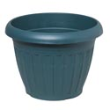 "Planter Rnd 12.5""x9.5""h Column Design Terra Cotta, Green #2007 No Punched Out Holes"