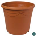 Planter Round 14 Inch 2 Colors Terra Cotta, Hunter Green With Holes Ref #decora 15