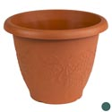 Planter Round 12.2d X 9.1h Grapes Terra Cotta/green #hg0231