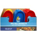 Deli Basket 3pk/3ast Solid Color 20 Red/16 Blue/12 Yellow 48pcpdq ** No Amazon Sales **