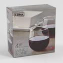 Stemless Red Wine 4pc Set 16.75oz Wine & Dine Litho Boxed #89695