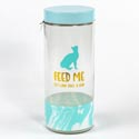Canister Glass Jar 75oz Cats Feed Me W/lid