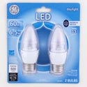 Light Bulbs 2pk Led 6.5 = 60w Ge Decorative Med Base Carded Clear Finish