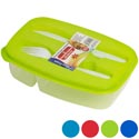 Lunch Box 2 Compartment W/fork & Knife In Pdq 5 Asst #554340