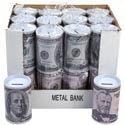 Bank Metal W/removable Lid $50 & $100 Design In 24pc Pdq 5 H X 3.15 D/upc Opp Bag