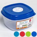 Food Storage Cont 38 Oz 1.18 Qt Square Fresh Vent 4 Col Lids In Pdq #5235n