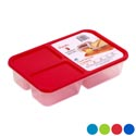 Food Storage Container 3 Comp Clear Bottom 4 Color Lids 60.9 Oz 1800ml