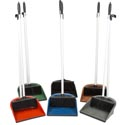 Dust Pan & Broom Set 5 Clrs Dust Pan/rubber Lip & 29in Pole Dp003