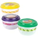 Food Storage Container 48 Oz Round 3 Color Lids With Printed Bottom #fiesta 1500