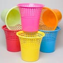 Waste Basket 11-1/4d X 10-1/2h 6 Col Solid Bottom/slotted Top