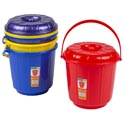 Bucket With Lid & Handle 3 Qt 7.25d X 7.5h 4 Colors In Pdq #eco 503