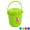 Bucket With Lid & Handle 3qt 7.25d X 7.5h 4 Colors In Pdq #eco 503