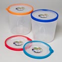 Food Storage Container Round W/ Rubber Edge On Rim 96 Oz 6.5d X 6.5h 4 Colors 118g