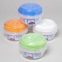 Food Storage Container Round 3pk 4 Color Lids/clear Bottom In Pdq #omega Bowl 2
