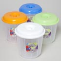 Container Multi Purpose Round 242 Oz 4 Color Lids/clear Bottom #7 Ltr Cont
