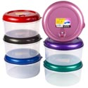 Food Storage Container Round W/air Vent 112 Oz 6 Metallic Color Lids #wonder Fresh 3500
