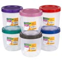 Food Storage Container Round Screw Top Lid 1.75qt 6 Metallic Lids Clear Bottom #star 1750