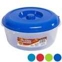 Round Food Storage Container 3 Qt 4 Color Lids -clear Bottom #omega Bowl 5