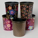 Waste Basket 6 Asst Designs With Silver Or Gold Top Trim In Pdq 10-1/4d X 10-3/4h