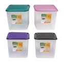 Food Storage Container Square 3.5 Qt 4 Metallic Lid Colors Clear Bottom #keep Fresh L3750
