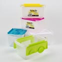 Storage Container W/lid Plastic 5 Asst Colors 9.9 X 6.3 X 5.1 Counter Display #91694