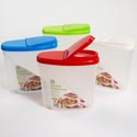Cereal Container 150oz/19 Cups 4.5 Qt 4 Color Lids/bottom Clear Ref #st2946-cd