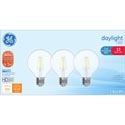 Light Bulbs 3pk Led 4.5w=40w Ge G25 Globe Hd Daylight Med Base Clear Finish Boxed