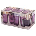 Drinkware 8pc Set 7oz Juice Glas Plum Spectrum Glass Litho Boxed