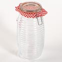 Canister Glass 64 Oz Ribbed Clear Bail & Trigger Lid (6.00)
