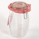 Canister Glass 45 Oz Ribbed Clear Bail & Trigger Lid (5.00)