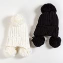 Hat Knitted Cotton Winter 2 Assorted (6.00) White And Black