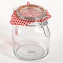 Canister Glass 35 Oz Square Clear Bail & Trigger Lid (5.00)