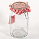 Canister Glass 50 Oz Square Clear Bail & Trigger Lid (6.00)