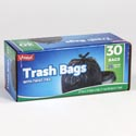 Trash Bags 30ct - 26 Gallon Black Bags W/twist Ties